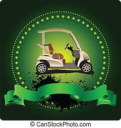 emblem., παίζων γκολφ , μπαστούνι , illustra , μικροβιοφορέας
