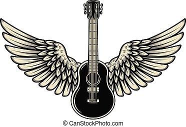 emblem., 印, イラスト, バックグラウンド。, 要素, ポスター, デザイン, 飛ぶ, 旗, ベクトル, 白, ギター, 隔離された