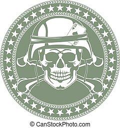 emblem, a, kranium, in, a, militär, hjälm