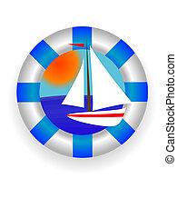 sea lifebuoy - Emblem - a sea lifebuoy ring with a yacht in...