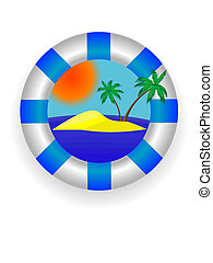 sea lifebuoy - Emblem - a sea lifebuoy ring with tropical...