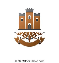 emblem., antiguo, aislado, blanco, logotype, retro, ...