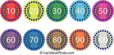 Emblem badge anniversaries color set