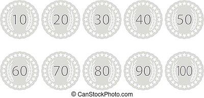 Emblem badge anniversaries set