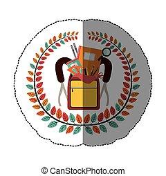 emblem bag with school tools icon