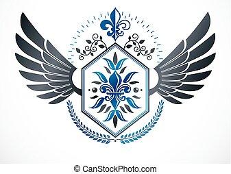 emblem, blazon, gebrauchend, geflügelt, ritterwappen, kranz, fünfeckig, vektor, luxus, sternen, lorbeer, blume, dekoriert, lilie, template.