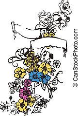 emblem, blume, banner, geschenkband