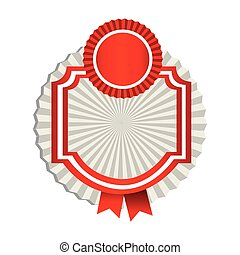 emblem border figure with red ribbon icon
