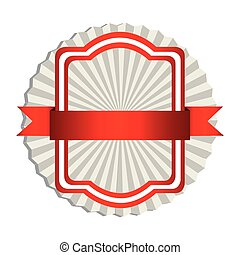 emblem border with red ribbon icon