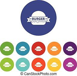 Emblem burger icons set vector color