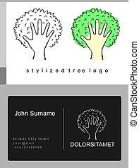 Emblem cartoon tree and palm