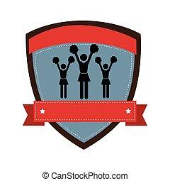emblem, cheerleaders, silhuet, skjold, bånd