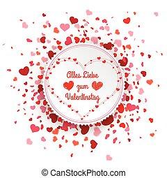 Emblem Confetti Hearts Cover Valentinstag - German text...