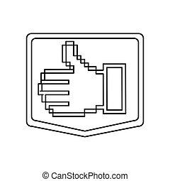 emblem contour of pixel hand showing symbol like
