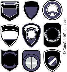 emblem, design, emblem, skydda