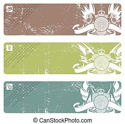 emblem, drei, disko, vektor, horizontale banner