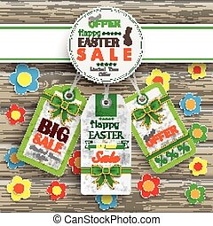 Emblem Easter Price Stickers Wood Flowers