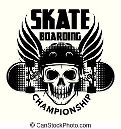 Emblem for skateboarding with skull, wings and skateboard.