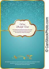 emblem, goldene karte, weinlese