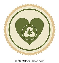 emblem green heart with ecolgy symbol