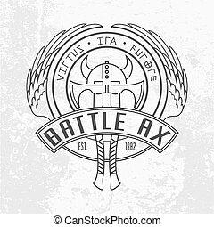 emblem, hintergrund, linear, schutzschirm, design., militaer, zwei, wickinger, äxte, schlacht, wings., logo, runder , gehörnt , grau, helm, valkyrie, licht, wand