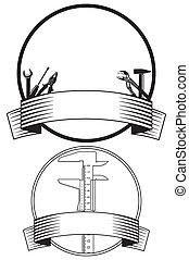 emblem, hos, hånd værktøj