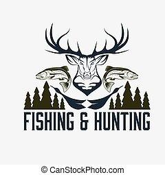 emblem, jagen, weinlese, vektor, design, fischerei,...