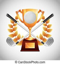 emblem, klub, golfen