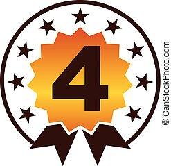 emblem, kvalitet, numrera, bäst, 4