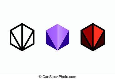 emblem, logotype, skapande, studio, logo, sexhörning, template., design.
