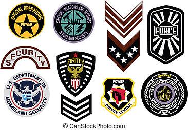 emblem, militär, emblem, skydda, logo