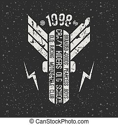 emblem, motorrad, klub, in, retro stil