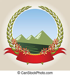 Emblem - Mountaineering badge with a laurel wreath, ribbon, ...
