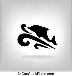 Emblem of a dolphin over the sea