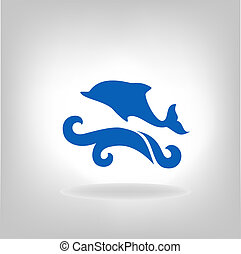 Emblem of a dolphin over the sea on a light background