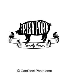 Emblem of a family farm with fresh pork