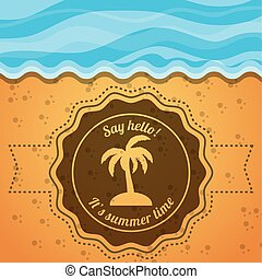 emblem of a palm over the sand and sea