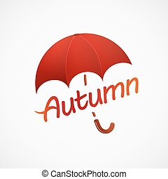 emblem of a red umbrella with a handle over the inscription autumn