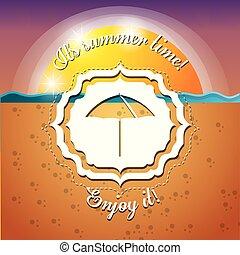 emblem of a umbrella over the sand and sea