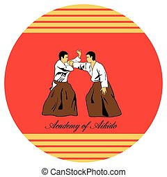 Emblem of aikido, two men get busy on a red background.