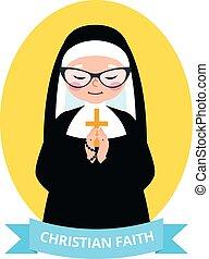 Emblem of an old Christian nun praying