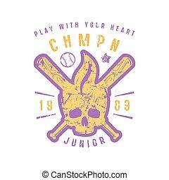 Emblem of baseball championship with image of skull