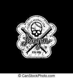 Emblem of baseball league with vintage texture