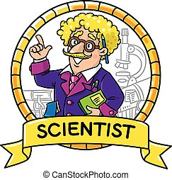 Emblem of funny scientist or inventor