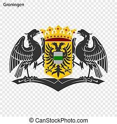 Emblem of Groningen. City of Netherlandsl. Vector illustration
