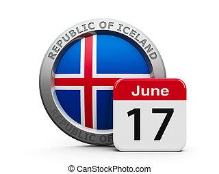 Proclamation of the Republic Iceland - Emblem of Iceland...