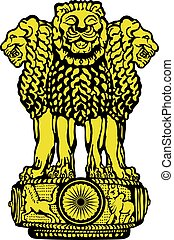 Emblem of India. Black and white.