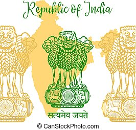 Emblem of India. Lion capital of Ashoka in Indian flag color.