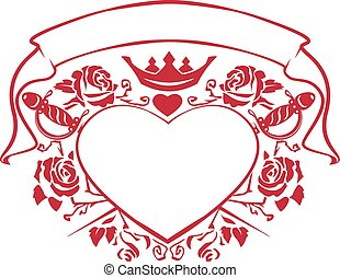 Emblem of love shape heart, dagger