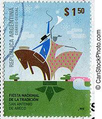 Emblem of National Holiday Tradition - ARGENTINA - CIRCA...